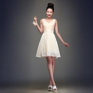 Robe de Demoiselle d'Honneur  Mode de bal Col en V Longueur genou Mousseline polyester
