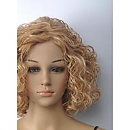 блондинка среднего вьющиеся парик женщин с полной челкой