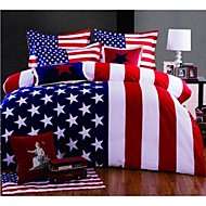 American Flag Duvet Cover Queen King Size 4 Pieces Bedding Set