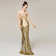 Formal Evening Dress - Gold Trumpet/Mermaid Sweetheart Floor-length Matte Satin