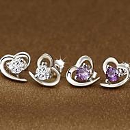 Stud Earrings Women's Sterling Silver Earring Cubic Zirconia