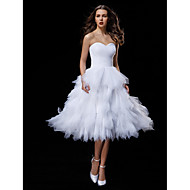 LAN TING BRIDE Ball Gown Wedding Dress Little White Dress Knee-length Sweetheart Tulle with Criss-Cross Ruche Tiered