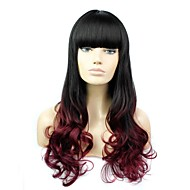 26 Inch Long Curly Heat Resistant Fiber Synthetic Ombre Wig with Full Bangs