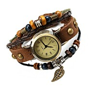 Women's Retro Fashion Leather Hot Leaf Bracelet Watch