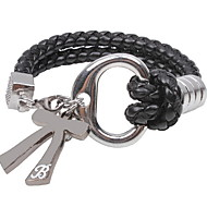 European and American Alloy Bowknot Leather Bracelet