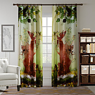 AnTi™ One Panel  Home Fashion Modern Polyester Jungle Elf Print Curtain