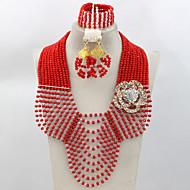 Nigerian Wedding African Beads Jewelry Set Crystal Beads Necklace Bracelet Earrings Set AC075