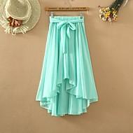 soild / saias azuis das mulheres preto / branco, casual assimétrico