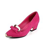 נעלי נשים - בלרינה\עקבים - דמוי סוויד - עקבים / שפיץ - שחור / כחול / ירוק / ורוד - שמלה - עקב עבה