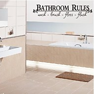 Wall Stickers Wall Decals, Bathroom Rules English Words & Quotes PVC Wall Stickers