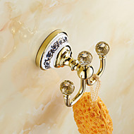 Robe Hook Ti-PVD Wall Mounted 105*100mm(4.13*3.93inch) Brass / Ceramic / Crystal Neoclassical