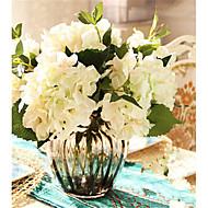 cinq hygrangeas blanches fleurs artificiel avec vase grise