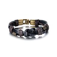 Fashion Delicacy Men's Black Alloy Leather Bracelet(1 Pc)