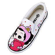 Girl's Loafers & Slip-Ons Spring / Summer / Fall Round Toe Canvas Casual Flat Heel Slip-on White