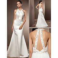 Lanting Trumpet/Mermaid Plus Sizes Wedding Dress - Ivory Sweep/Brush Train Jewel Satin