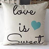 moderní styl romantické slova modré srdce vzorované bavlna / len dekorativní polštář kryt