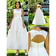 lanting는 몸집이 작은 A 라인 / 공주 신부 / 플러스 웨딩 드레스 발목 길이의 보석 레이스 크기