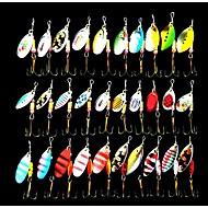 Metal Bait Brass Spinner Fishing Lure 30pcs 3-5g with Hooks Random Color