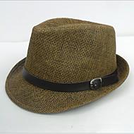 Unisex Faux Leather/Straw Fedora Hat