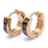 Mens female Jewelry wholesale Gold Roman Classic Cool Steel Stud Hoop Mens Earrings E61