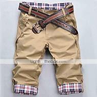 Men's Black/Beige/Brown Check Pattern Casual Cropped Pants