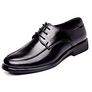 Men's Spring Summer Fall Winter Comfort Formal Shoes Leather Casual Low Heel Lace-up Black