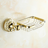 Soap Dish Ti-PVD Wall Mounted 205*70mm(8.07*2.75inch) Brass Neoclassical