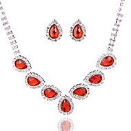 Simple Ladies'/Women's Alloy Wedding/Party Jewelry Set With Rhinestone Red