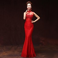 Formal Evening Dress A-line High Neck Floor-length Satin
