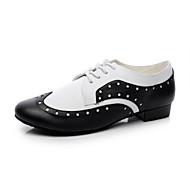 Non Prilagodljiv - Men's - Plesne cipele - Šivanje Cipele - Koža - Stan Heel - Crn