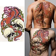 Python Wrath of the Dragon Human Skeleton Tattoo Stickers Temporary Tattoos(1 Pc)