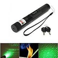 LS321 G303 Lockable Adjustable Focus Green Laser Pointer(5mw, 532nm, 1x18650, Black)