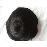 "Indian Human Hair Jet Black #1 8""x6"" Mono Base Toupee"