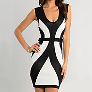 Elegant Lady Black & White Low-cut Spandex Nightclub Uniform