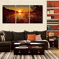 E-HOME®   The Lake Sunset Clock in Canvas 3pcs