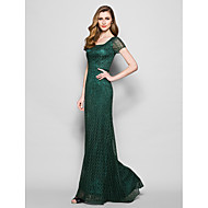Lanting Sheath/Column Plus Sizes / Petite Mother of the Bride Dress - Dark Green Floor-length Short Sleeve Lace