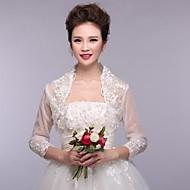 결혼식 볼레로에게 3 / 4 길이 소매 레이스 흰색 볼레로 어깨를 으쓱 랩