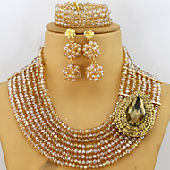Charms African Beads Jewelry Set Champagne Gold Crystal Beads Necklace Set