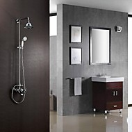 Contemporary Shower System Rain Shower / Handshower Included with  Ceramic Valve Two Handles Three Holes for  Chrome , Shower Faucet