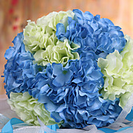 Wedding Bouquet Wedding Bride Holding Flowers,Silk Colth Simulation Hydrangea,Blue and White