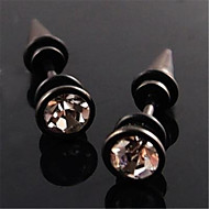 Crystal Black Cool Steel Stud Hoop Mens Earrings E9