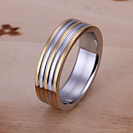 Fashion Round Shape Silver Plated Double Colors Rings For Mens(Yellow Gold)(1Pc)