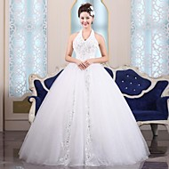 Ball Gown Floor-length Wedding Dress -Halter Tulle