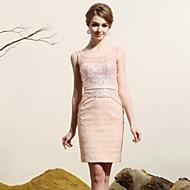 Sheath/Column Scoop Short/Mini Satin/Tulle Evening Dress