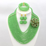 African Women Costume Jewelry Set Crystal Beads Necklace Set Wedding Bridal Jewelry AC072