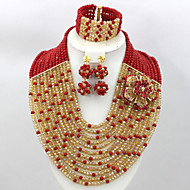 Hot Sale Crystal Beads Necklace African Wedding Bridal Jewelry Set AC037