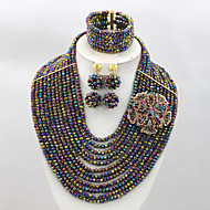 African Crystal Beads Jewelry Set Wholesale African Costume Jewelry Set