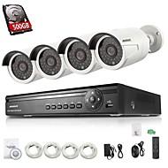 annke® 4ch poe nvr 4 720p 1.0MP ONVIF extérieure caméras balle ip, balayage des codes QR, sortie HDMI, sauvegarde USB (disque dur 500 Go)