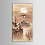 IARTS Oil Painting Modern Landscape Ocean Boats Hand Painted Canvas with Stretched Frame