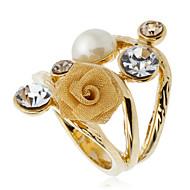 Arinna Women'S Girl Crystal Gauze Rose Pearl Cocktail Ring 18K Yellow Gold Gp J0822